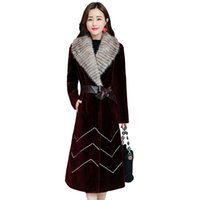 меховая куртка оптовых-2019 New Women's Winter Leather Grass Coat Sheep Sheared  Fur Long Outer Slim Thick Warm Double-faced Fur Jacket