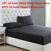 Wholesale super king sized bedding for sale - 100 Mulberry Silk Bedding Sets Silk Fitted Sheet Deep cm Zipper Pillowcase Super Soft Silk Fitted Sheet Sets Multi Size