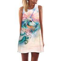 mini estrela 3d venda por atacado-Unicórnio Flamingo 3D Mulheres Vestido Túnica Sem Mangas Uma Linha Mini Vestido de Festa Nebula Galaxy Estrelas Robe Femme Verão Praia Vestidos