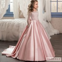 Ball Gown Long Lace Sleeved Kids Flower Girl Pageant Dress with for Girls Aged 5-11 Years