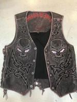 freie leder-motorradjacke großhandel-Heißer Verkauf CooL Men Punk Rock Leder Motorrad Weste Sleeveless Jacke für Coolman Rockman kostenloser versand
