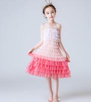 balo elbisesi kabarcık elbiseleri toptan satış-Kızın Elbiseler Kabarcık Prenses Konak Doğum Günü Elbise Katman Balo Çocuk Sleveless O-Boyun Yaz 3-9 T Için Fit