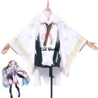 vocaloid miku cosplay vestido al por mayor-Anime cosplay 2018 Snow Psychic Vocaloid Hatsune Miku Kimono Yukata Vestido de uniforme Traje de anime Cosplay