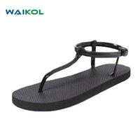 черные римские сандалии женщин оптовых-Waikol Women Bohemia Sandals Black Apricot Roman Summer Flat Sandals For Ladies Sweet Shoes