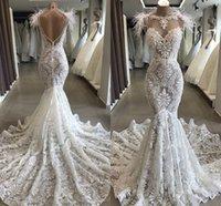Wholesale feather trumpet wedding dress resale online - Luxury Feather Mermaid Wedding Dresses Full Lace Beaded Pearls Sheer Neck Backless Beach Bohemian Bride Dress vestidos de n