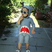 sevimli korean mayo toptan satış-2019 Bebek erkek Köpekbalığı Kapüşonlu tasarımcı mayo karikatürler Kore Sevimli çocuklar mayo tasarımcısı mayo Kız Giysileri Çocuk Plaj Spor giymek