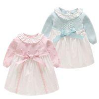 Wholesale cute prom dresses online - Baby Girls Bow Knit Dress Newborn Baby Clothing Shirt Long Sleeve Cute Sweater Prom Baby Girl Dress LJJS124