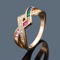 amarillo piedra anillo de oro blanco al por mayor-Simple Wave White Zircon Cross Ring Fashion Female Colorful Stone Wedding Ring Classic Silver Yellow Gold Color Anillos para mujeres