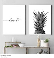 ingrosso dipinti d'amore-NICOLESHENTING Pineapple Wall Art Canvas Poster Prints Nordic Love Quote Paintings Black White Wall Immagine per Living Room