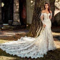официальная одежда для пляжа оптовых-Кружева Русалка Свадебные платья с открытыми плечами Свадебные платья с длинными рукавами Vestido Novia 2020 Beach Formal Wear