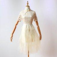 ingrosso abiti da sposa tradizionali a maniche corte-Abito da sposa cinese tradizionale Qipao Cheongsam con ricamo a maniche corte