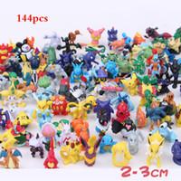 mini bolsillo de hierro al por mayor-144 unids Pikachu figura de acción Mini Kawaii Pikachu Pearl Squirtle Toys Pocket Monster Kids Toys 2-3 cm Colección PVC Figuras de juguete