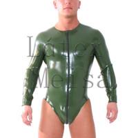 homens verdes do catsuit venda por atacado-Exército catsuit latex verde longo manga de borracha fetiche exótico anexado zíper frontal para homens