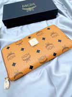 Wholesale fashion tote long strap resale online - Long Zipper Handhold Wallet MCM Visetos Series Classic Letter Printing Zipper Long Wallet Wallet Simple Tide Leisure Fashion