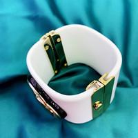 weißgold valentinstag ring großhandel-Mode CC Kristall Harz Acryl Weißgold Armreif für Frau Valentinstag Geschenk Hochzeitsgeschenk Designer Marke Armband Schmuck für Frauen