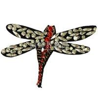 бисерная аппликация для одежды оптовых-Новое поступление Handmade хорошее качество горный хрусталь большие насекомые из бисера патчи для одежды джинсовые сумки Droganfly аппликация вышивка патчи