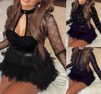 Wholesale evening dresses feathers mini for sale - Group buy Sexy Women Mesh See Through Long Sleeve Dress Clubwear Fur Patchwork Trutleneck Bandage Bodycon Evening Party Short Mini Dresses