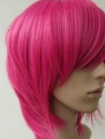 Wholesale straight pink cosplay wig for sale - WIG MISS New Short Hot Pink straight base cosplay wig