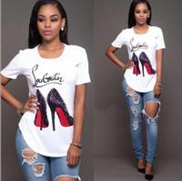 ingrosso magliette a labbra-Estate di marca T Shirt Donna T-Shirts Lips Tshirt ricamo cotone manica corta maglietta delle donne supera i T