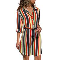 vestidos listrados elegantes venda por atacado-Outono verão dress 2018 mulheres listrado impressão lace up praia dress elegante vestidos de festa com botão vestido de festa plus size