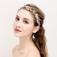 Wholesale bridal gold hair chains for sale - Group buy Leaf Tiara Wedding Bridal Hair Accessories Casamento Headband Gold Color Hair Jewelry Bride Tiaras Headbands Head Chain