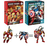 Wholesale style superhero toys for sale - Group buy 6 Styles Avengers super hero building blocks assembly robot building block Superhero Captain America Children diy blocks kids toys EMS