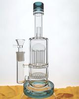 двойной стакан оптовых-Очень толстого Beaker дна утилизатора Бонг стекло Труба аромалампа Двойной Honeycomb Процы 8Arm Процы кальяны аромалампа 14.4mm совместный