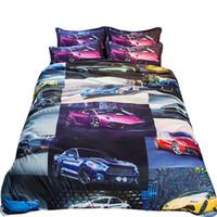 Wholesale car quilts online - 3D Bedding Set queen size Sports car design kids Duvet Cover set with pillowcase AU king Quilt Cover gift bedline bedclothes