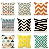 Wholesale blue plaid pillows resale online - Plaid Geometric Color Pillow Case New Home Decor Cushion Cover Single Side Print Patterns Hot Sale js Ww
