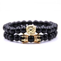 Wholesale copper beads 8mm for sale - Group buy 8mm Bright Black Stone Bead Bracelets Lion Head and Double Crown Charm Bracelet Couple Bangle for Men Women set Vintage Jewelry Gift