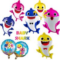 bebek hediye oyuncakları toptan satış-8 Stil Bebek Köpekbalığı Balon Köpekbalığı karikatür Boynuzlu Folyo Balonlar Oyuncaklar Doğum Günü Parti Malzemeleri Okyanusya Köpekbalığı Balonlar Parti Dekorasyon hediye B