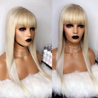 Wholesale blonde human hair lace wigs bangs for sale - Group buy 613 Blonde Lace Front Human Hair Wigs With Bangs Brazilian Lace Frontal Wig Pre Plucked With Baby Hair Ever Remy