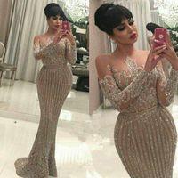 Wholesale arabic dresses resale online - Long Sleeve Mermaid Arabic Dubai Woman Evening Dresses Sequined Formal Elegant Prom Dress Party Gowns