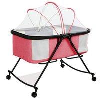 ingrosso biancheria da letto per neonati culla-Lettino pieghevole portatile con rotelle Lettino Presepe Zanzariera per bambini Safty Big Bed Travel Sleeper