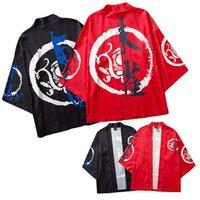 rote kimonomänner großhandel-Chinesischen Stil Kimono Hip Hop Shirt halbe Ärmel lässig Streetwear Herren Sommer Shirt chinesisches Schriftzeichen Kimono Baggy Tops rot