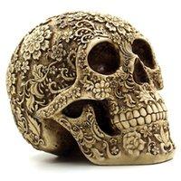 kafatası reçine maskeleri toptan satış-İnsan Kafatası Reçine Kutusu ile Cadılar Bayramı Ev Bar Tablosu Derece Dekoratif El Sanatları Küme Çiçek İnsan İskeleti Kafatası Dekorasyon Maske