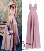 ingrosso abiti da damigella d'onore per matrimoni invernali-Blush Pink Plus Size Abiti da damigella d'onore economici 2019 A Line Long Satin High Split Semplice Country Beach Maid of Honors Wedding Guest Gowns