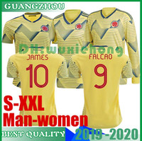 Wholesale colombia uniforms for sale - Group buy 2019 Colombia women and man soccer Jersey Home yellow away FALCAO JAMES CUADRADO BOCCA BACCA Football uniform size S XL