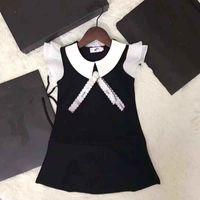 elbiseler yakışıklı yaka toptan satış-Yeni Posh Zarif Prenses Kız Elbise Beyaz Fırfır Kollu Yaka Çocuk Kız Giyim Tasarımcısı Çocuklar Parti Elbise ile yay