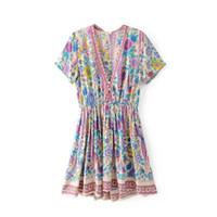 ingrosso abiti blu boho-Di buona qualità Abiti manica corta alla moda con scollo a V manica corta blu Flora stampato Boho Summer Women Dress