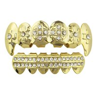 diamante vampiro al por mayor-Tide Brand Diamond Braces Gold Plated Hip Hop Braces Top Bottom Grill Set Dientes Braces para hombres Mujeres Vampire Grills