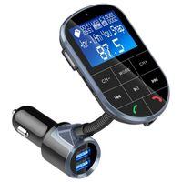 büyük liman toptan satış-BC37 FM Verici Modülatör Kablosuz Bluetooth Handsfree Büyük LCD Ekran Ekran TF Kart Çift USB 2.4A 2.1A Portu U Disk