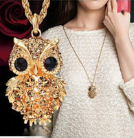 Wholesale crystal owl necklaces resale online - 2019 Hot Fashion Womens Necklaces Jewelry Trendy Charms Crystal Owl Sweater Necklace Rhinestone Long Chain Animal Necklaces Pendants Sale