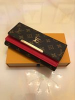 billetera larga zip al por mayor-Caja de tarjeta de envío al por mayor libre inferior rojo larga de las señoras Monedero multicolor de alta calidad del diseño original de la caja monedero mujeres clásico Zip Poc