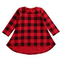 vestido casual asimetrico al por mayor-Nuevo Chritmas niños niñas vestido a cuadros de manga larga asimétrico vestidos de niñas vestidos ropa para niños ropa de bebé vestido de princesa