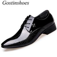ingrosso stile coreano di vestito convenzionale-Gostinshoes Mens Business Dress Shoes Scarpe da uomo in pelle derby stile coreano a punta bassa in pelle nera