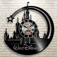 черные современные настенные часы оптовых-Kids  Record Wall Clock Modern Design Decorative Bedroom Black Cartoon Clocks Wall Watch Home Decor Gift for Children