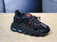 goz kirpmak toptan satış-2019 Lüks Zincir Reaksiyon Sneaker Tasarımcı eğitmenler Zincir erkek kadın Tüm Siyah Beyaz zincir bağlantılı lüks marka tasarımcısı spor moda ayakkabı