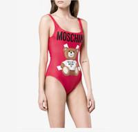 traje de baño lindo al por mayor-Bikini de marca de verano para mujeres Trajes de baño con letras Traje de baño de lujo atractivo Trajes de baño de una pieza para mujer con osito lindo