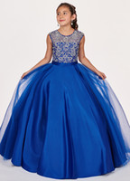 Wholesale kids pink ball gown prom dresses for sale - Group buy Hot Sale Royal Blue Girls Pageant Dresses Sheer Neck Hollow Back Satin Ball Gowns Beading Sequin Prom Party Dress For Kids Girls